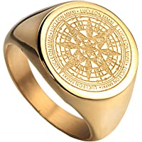 Oakky Men's Stainless Steel Stars Vintage Round Compass Signet Ring Silver and Gold and Black