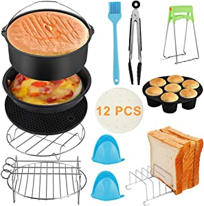 Air Fryer Accessories,Set of 12 Fit all 2.5Qt - 6.8Qt Air Fryer Compatible for Philips Air Fryer, COSORI and other Square Air Fryers and Oven(6 inch/Set of 12)