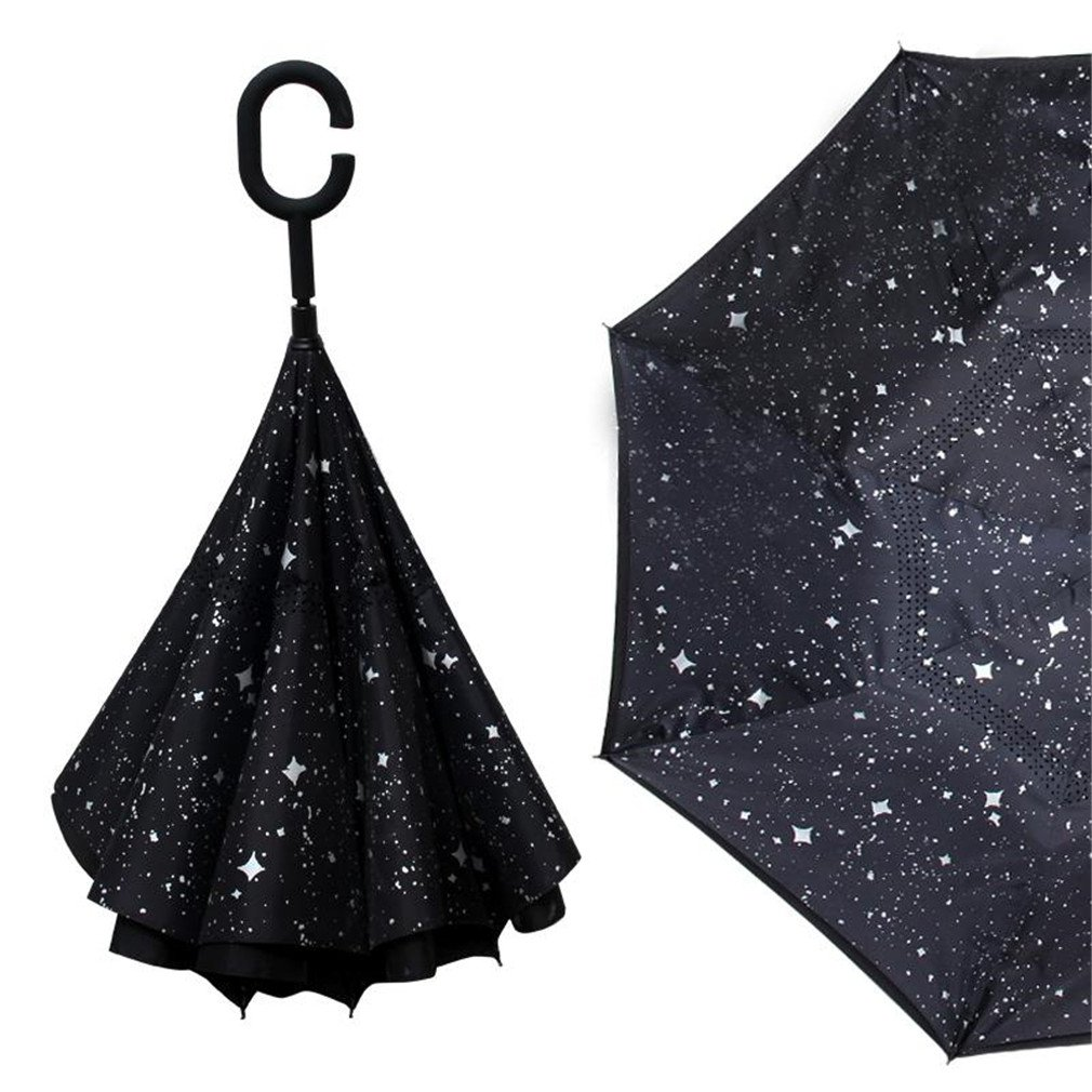 Guoke The Reverse, Double Long Handle, Men And Women Fine Umbrella Creative Car Hands-Free Oversized Anti-Bone, And The Stars