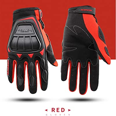 SCOYCO Knuckle Protective Breathable Cycling MBX Motorcycle Gloves (Red,L): Automotive