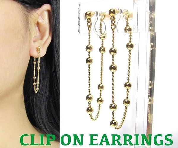 Amazon com: Japanese Hidden Clip On Earrings, Gold Plated Beaded