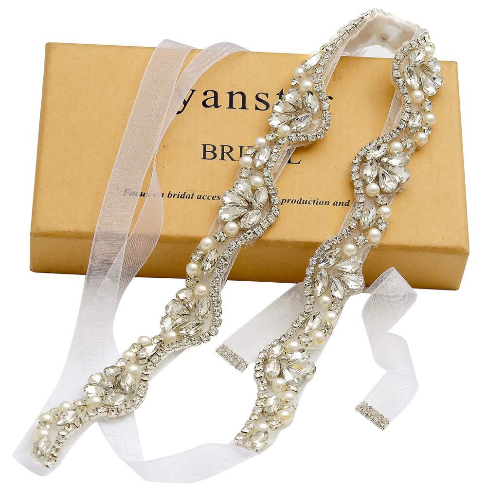 Yanstar Hand Silver Rhinestone Crystal Wedding Bridal Belts With White Organza For Bridal Bridesmaid Gowns by yanstar