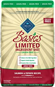 Blue Buffalo Basics Limited Ingredient Diet, Grain Free Natural Adult Dry Dog Food, Salmon & Potato 22-lb