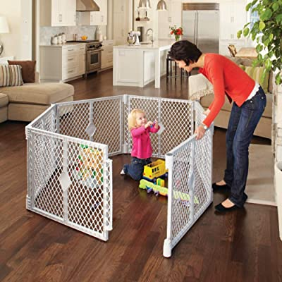 Toddleroo by North States Superyard Classic 6 Panel Baby Play Yard: Safe play area anywhere. Folds up