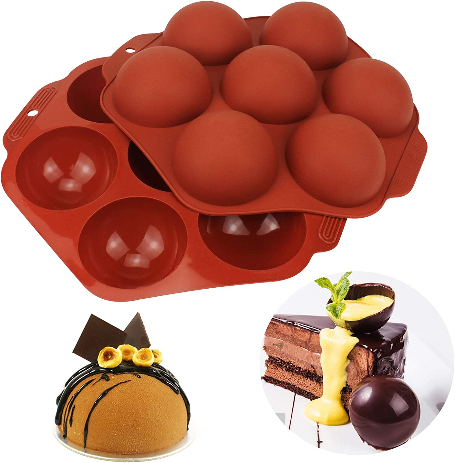 Newest Seven Holes Round Silicone Molds For Baking, Chocolate, Cake, Jelly, Dome Mousse, Pudding - NEW Medium Semi Sphere Silicone Molds, chocolate molds silicone sphere (Two Pcs)