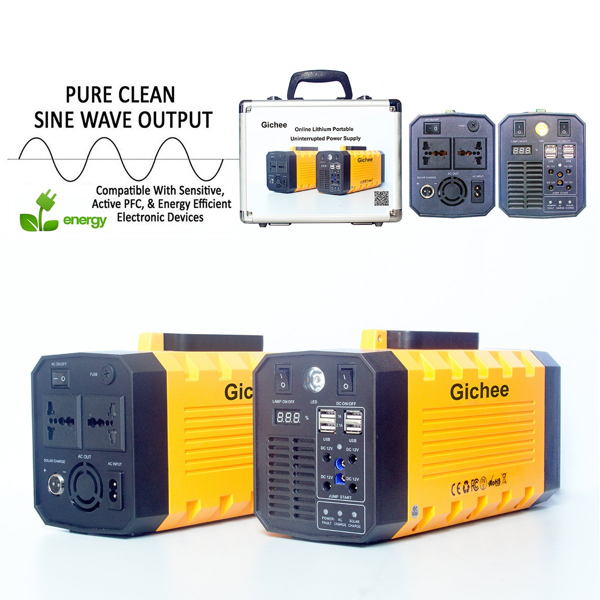 Gichee Portable UPS On-line Uninterrupted Power Supply Pure Sine Wave Power Inverter 500W (Peak 1000W) 288WH Lithium Backup Battery Solar Generator with Car Jump Starter USB DC AC Outlet