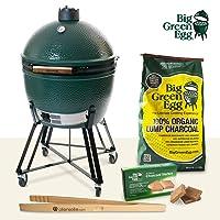 Set XLarge Keramikgrill Big Green Egg grün XXL Keramik Ceramic Smoker Garten Grill-Set ✔ Lenkrollen mit Bremse ✔ Deckel ✔ oval ✔ rollbar ✔ stehend grillen ✔ Grillen mit Holzkohle ✔ mit Rädern
