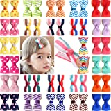 2 Inch Tiny Baby Clips, 50 Pcs Grosgrain Baby Bows with Fully Lined Clips for Baby Girls, Toddler and Infant