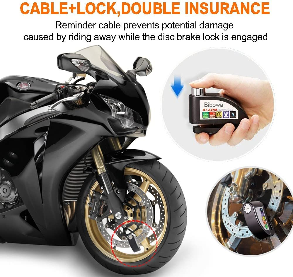 Bibowa Disc Brake Lock With Alarm Anti Theft Disc Lock Motorcycle Alarm With 110db Alarm Sound 1 5m Cable And Bag Wheel Security Lock For Motorcycles Scooters Motorcycles Auto