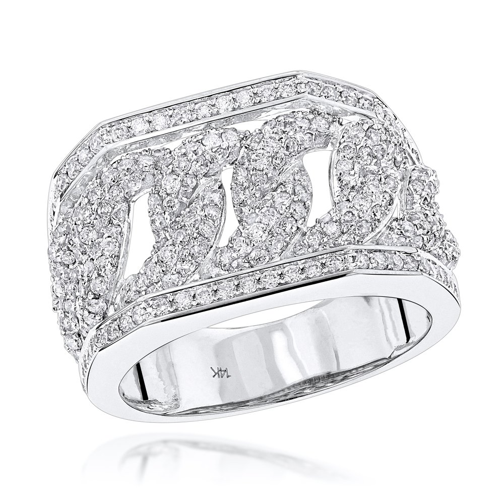 Luxurman 14K Diamond Miami Cuban Link Chain Ring for Men (White Gold Size 9.5)