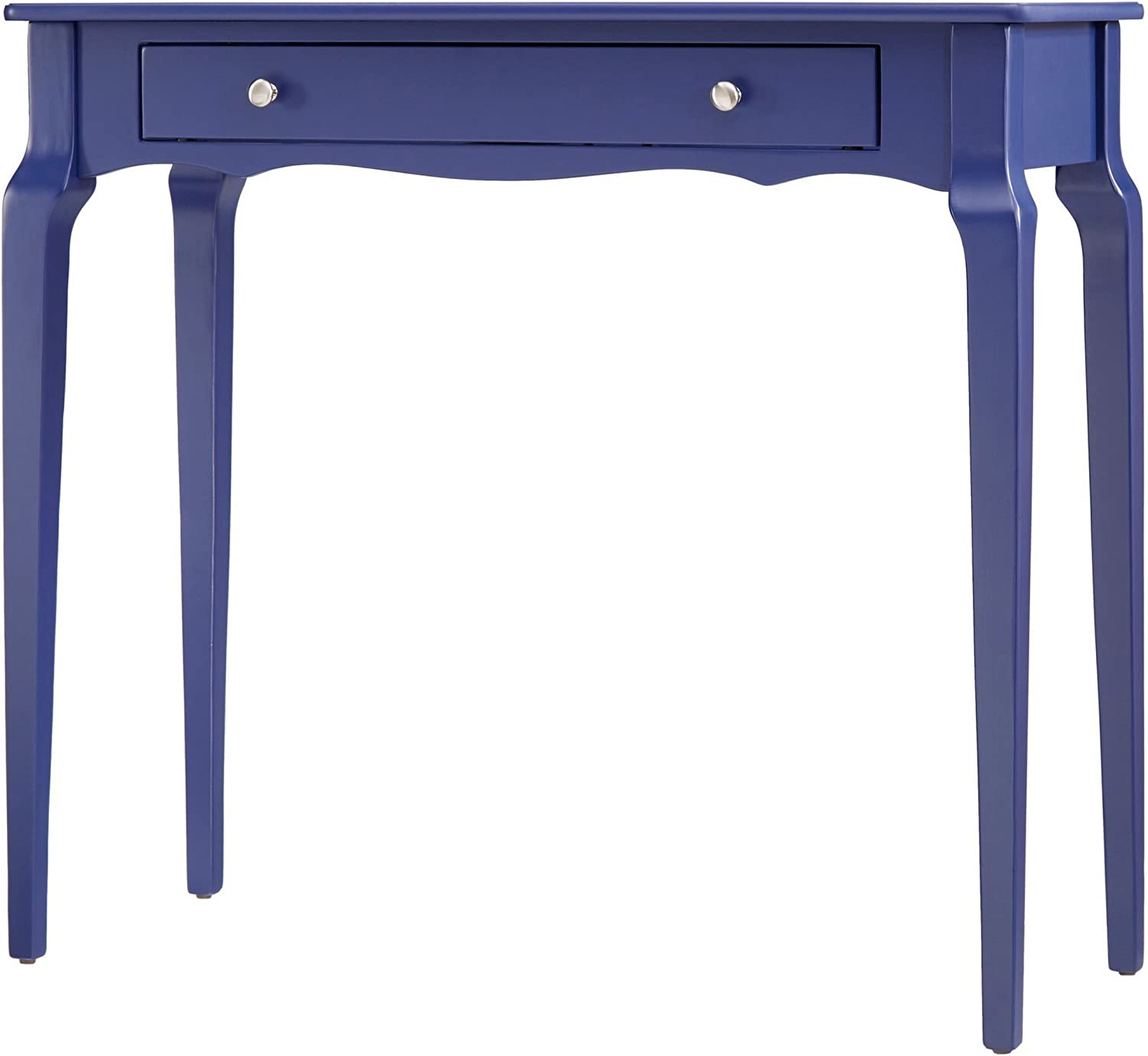 ModHaus Living Modern Cottage Narrow End Sofa Console Wood Accent Table with Storage Drawer – Includes Pen Navy Blue