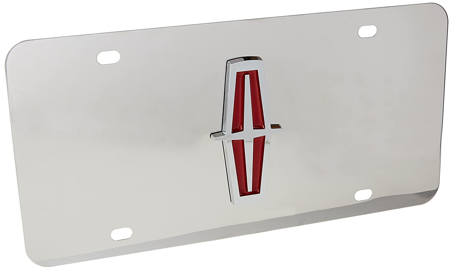 Lincoln Chrome Logo W//Red Fill On Stainless Steel License Plate
