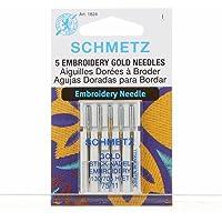 Schmetz - Agujas de bordar para máquina de coser, titanio dorado, sistema 130/705, paquete de 5 unidades