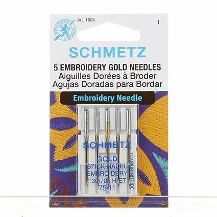 Schmetz - Agujas de bordar para máquina de coser, titanio dorado, sistema 130/
