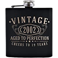 Vintage 2002 Etched 6oz Matte Black Stainless Steel Flask - 19th Birthday Aged to Perfection - 19 years old gifts
