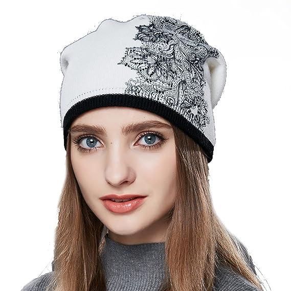 a915e843477 URSFUR Femme Fille Chapeau Bonnet Beanie Tendance à Fleur Stras Bonnet  Tricot Laine Hiver blanc