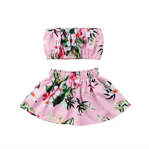 393adf24dcc6 Opperiaya Newborn Baby Girls Outfit Floral Crop Top Skirt Summer Clothes Set  (12-18