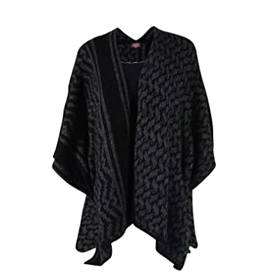 Yippie Hippie Poncho Gaucho Knitted Poncho With Tap Pattern Wool