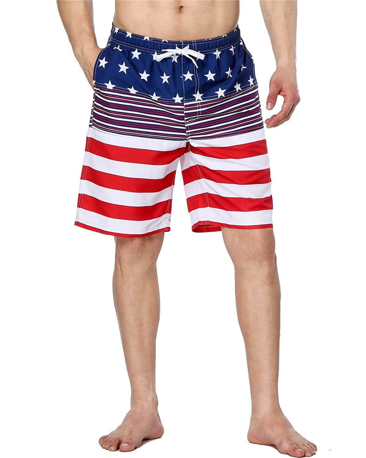 0238e97675 Mens lightweight board short featuring American USA flag print. Elastic  waistband with drawstring in front to tighten or loosen
