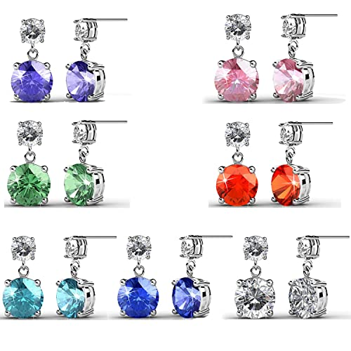 2ff02816baa1b R-timer Womens Fashion Jewelry Stud Earrings Set 18K Whit-Gold Plated with  Crystals from Swarovski