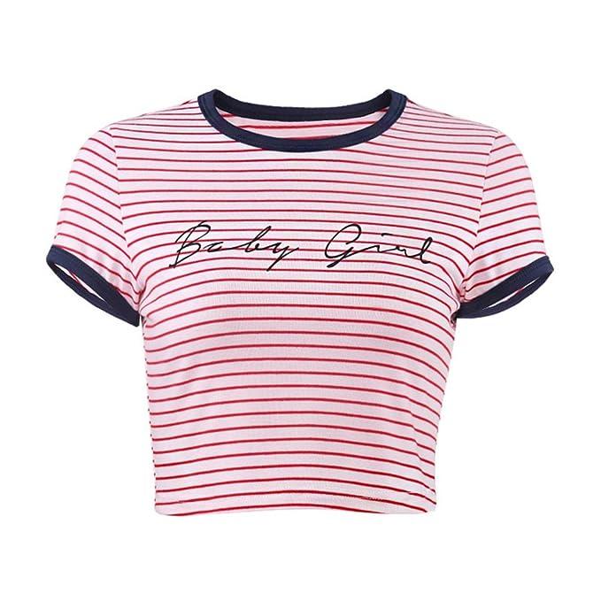 Yiiquanan Mujeres Camiseta Manga Corta con Cuello Redondo Impresión a Rayas Camisetas Cortas Verano Crop Tops