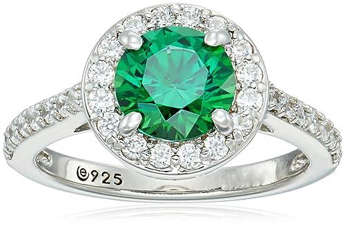 ba908c05e1ccb Platinum-Plated Sterling Silver Round-Cut Swarovski Zirconia Halo Ring