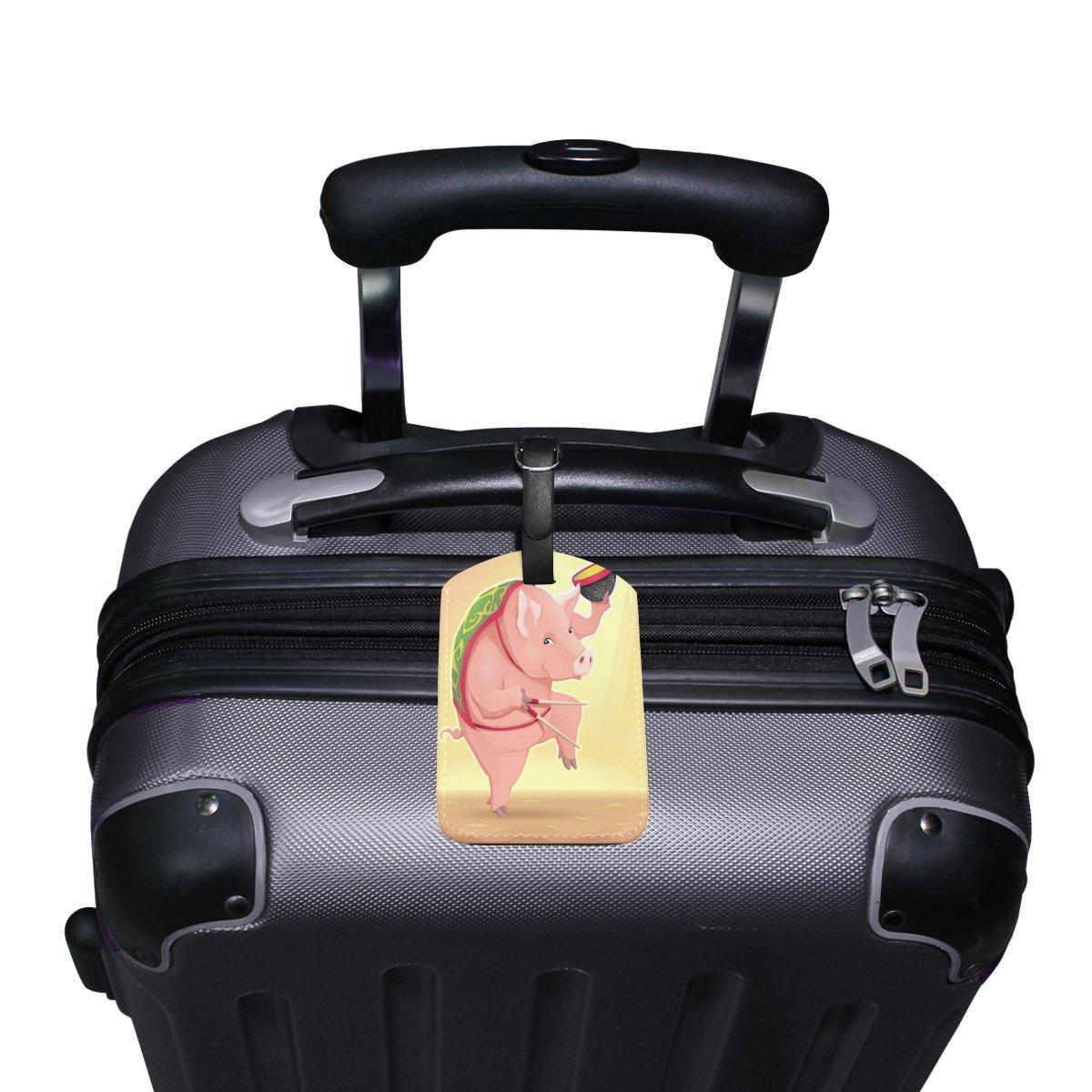 Saobao Travel Luggage Tag Funny Pig PU Leather Baggage Travel ID