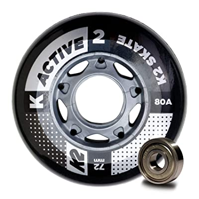 K2 Skate Active 80A 8 Wheel Pack with ILQ 5 Bearing & Alum Spacer, 72mm, : Sports & Outdoors [5Bkhe0506343]