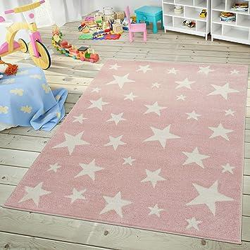 TT Home Tapis Chambre Enfant Et Adolescent Design Ciel Étoilé Pastel  Tendance Rose Blanc, Dimension