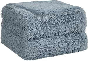 PiccoCasa Shaggy Faux Fur Blanket - Soft Warm Reversible Solid Sherpa Reverse Throw Blanket for Sofa, Couch and Bed - Luxury Plush Fluffy Fleece Blankets As Gifts (90x90 Inch, Pale Gray)