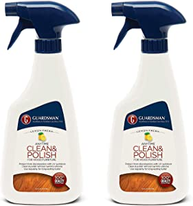 Guardsman Clean & Polish For Wood Furniture - Lemon Fresh - 16 oz - Silicone Free, UV Protection - 2 Pack