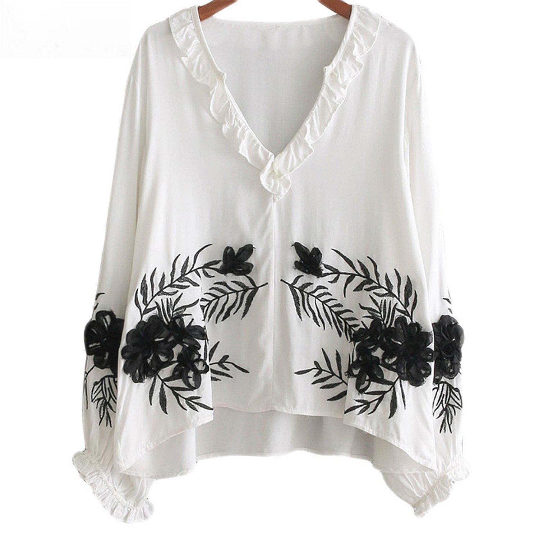 22367117bdb3 Feilongzaitianba Embroidery Women Blouse White Ruffles V-Neck Long Sleeve  Casual Shirts Autumn Office Women Tops at Amazon Women's Clothing store: