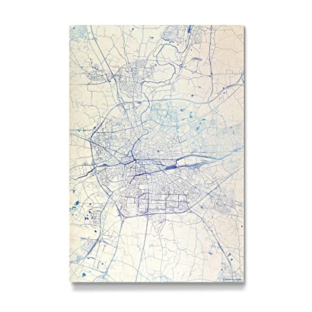 Artboxone Gallery Print 120x80 Cm Rennes France Blue Infusion Map Ii