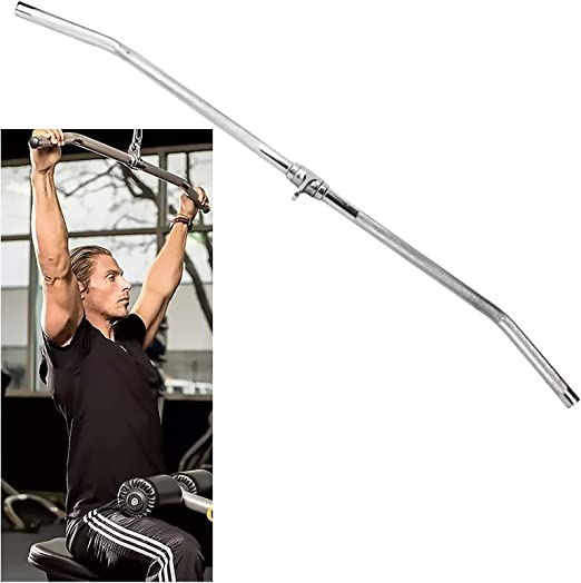 Fitness Revolving Straight Bar Pull Down Cable Machine Attachment 37cm Gym Home