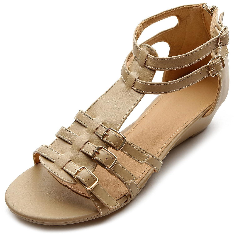 Flat heel sandals images - Amazon Com Ollio Women S Flat Shoe Gladiator Wedge Low Heel Ankle Strap Sandal 10 B M Us Beige Flats