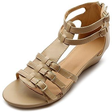 Amazon.com | Ollio Women's Flat Shoe Gladiator Wedge Low Heel ...