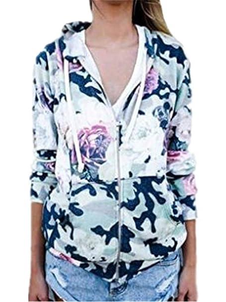 Tayaho Chaquetas con Capucha Mujeres Outwear Manga Larga Impresión Flores Tops Paravientos Running Blusas Multicolor Casuales