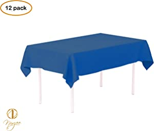 """Norzee 12-Pack Disposable Plastic Tablecloths, 54"""" x 108"""" Royal Blue Plastic Table Cloth, Rectangle Table Cover (Blue)"""