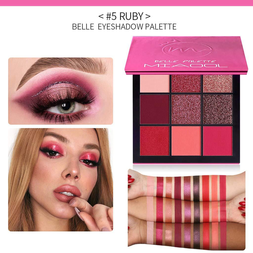 New Pearl Glitter Eye Shadow Powder Palette Matt Eyeshadow Cosmetic Makeup 9 Color (Hot Pink)