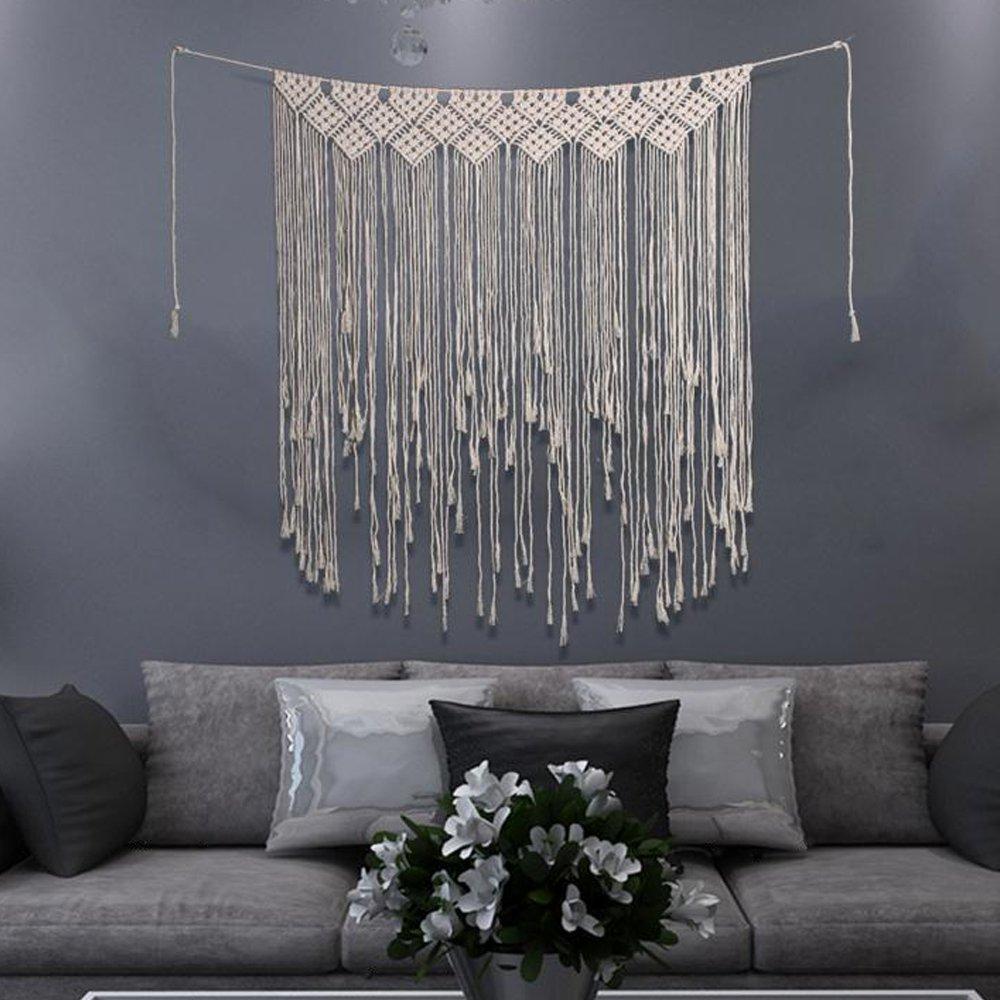 40''Wx45''L Macrame Wall Hanging Tapestry,Macrame Door Hanging,Room Divider,Macrame Curtains,Window Curtain,Door Curtains,Wedding Backdrop Boho Wall Art (Beige Pattern-1)