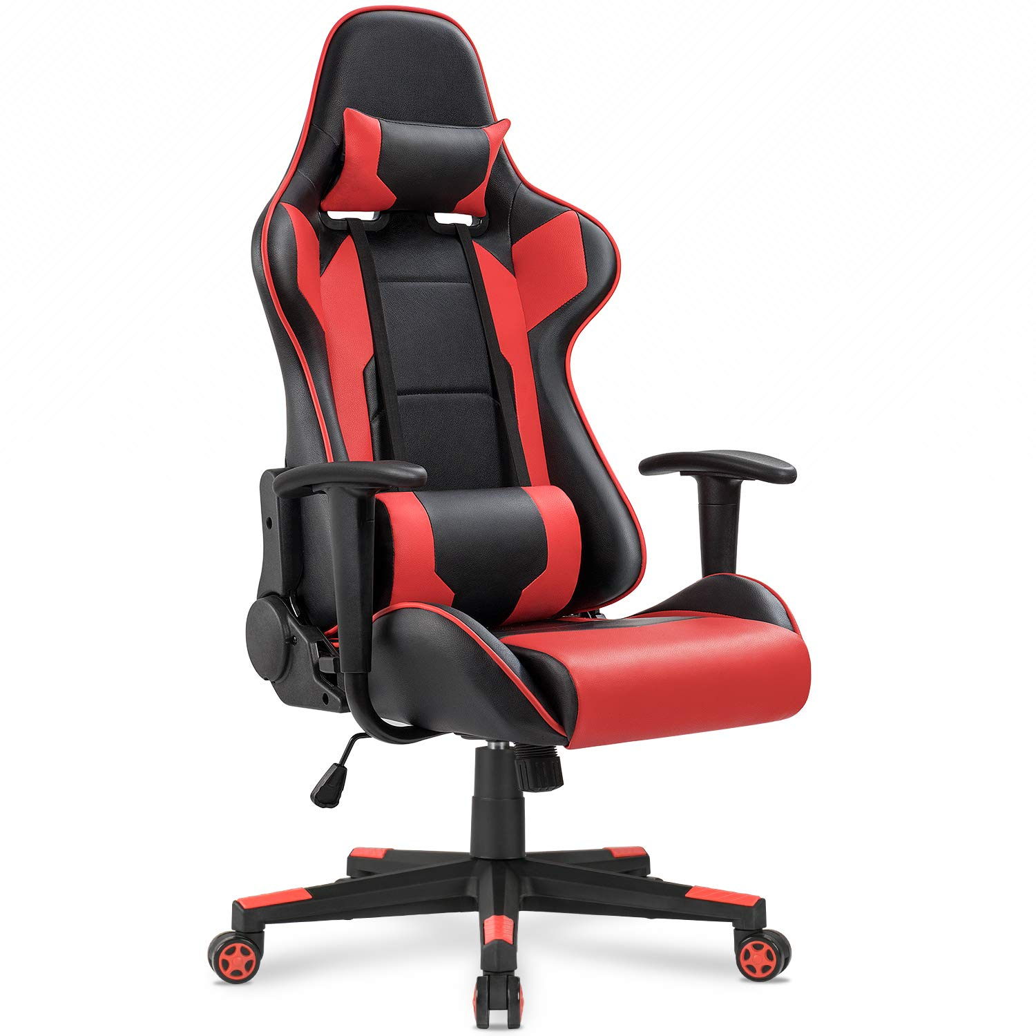 Homall Gaming Chair Racing Style High-Back Faux Leather Office Chair Computer Desk Chair Executive and Ergonomic Style Swivel Chair with Headrest and Lumbar Support(Red)