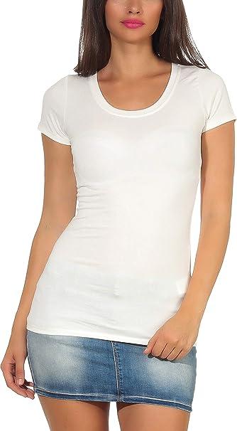 Stylelightone Damen Basic T Shirt Longshirt Stretch Kurzarm V