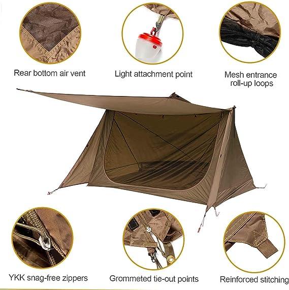 OneTigris Tienda de Campaña para 1-2 Personas Bungalow Backwoods 2,0 Tienda 4 Estaciones Ideal para Camping, Bushcraft, Mochileros