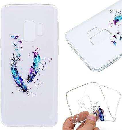 Funluna Coque Samsung Galaxy S9 Plume, Ultra Fine Coque Silicone Gel Souple TPU Transparente Motif Plume, Housse Etui de Protection Bumper pour ...