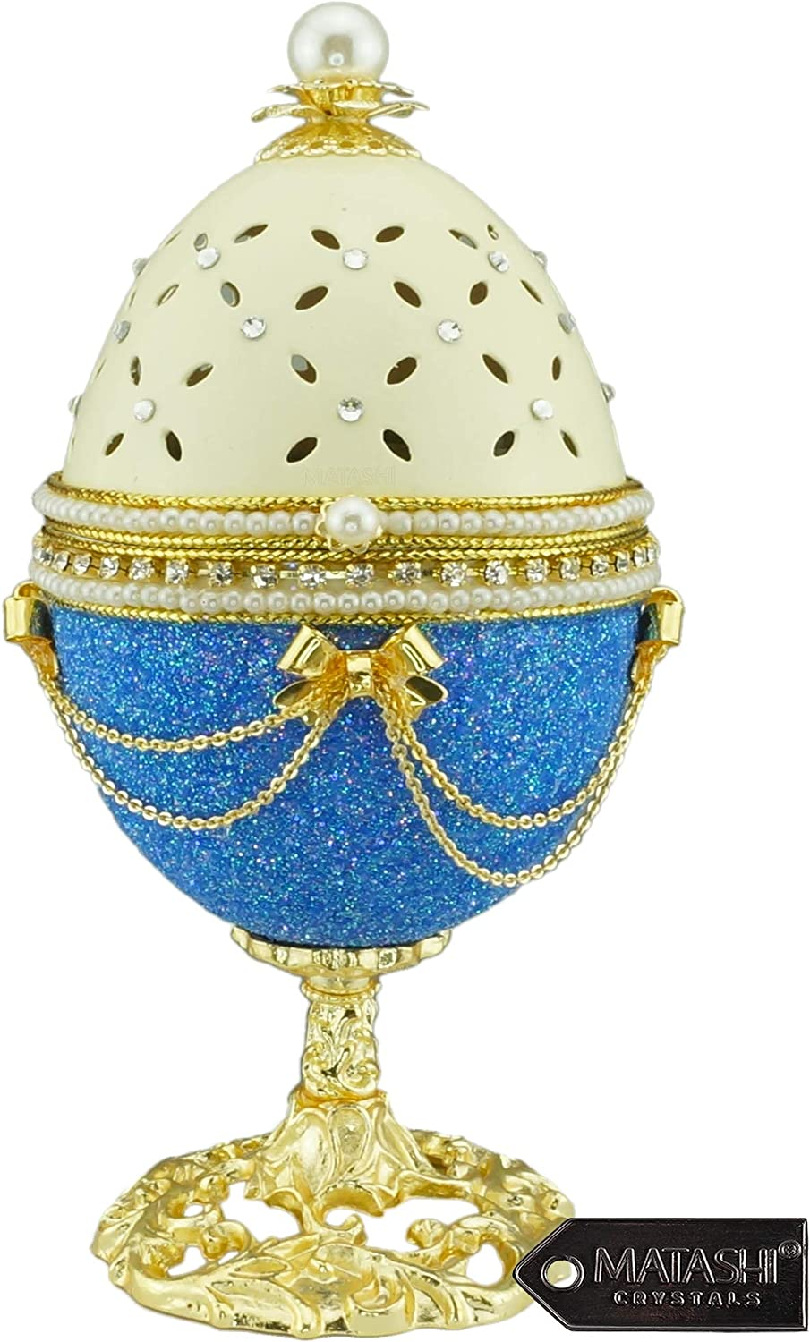 "Matashi Blue-Ivory Eggshell Trinket Music Box ""Fur Elise"" with Crystals and Pearls Faberge Egg Table Top Ornament Decorative Gold Finish Home Decor for Living Room Bedrooms Gift for Christmas Birthday"