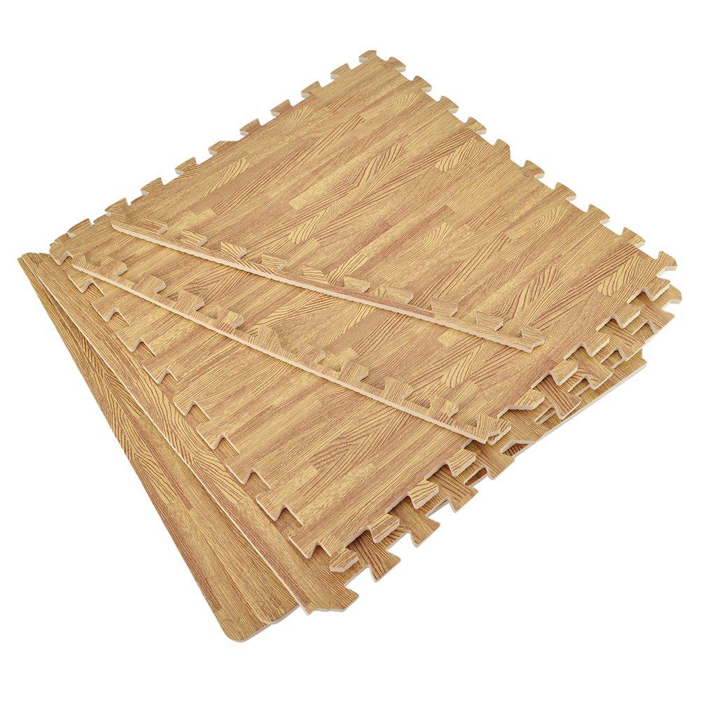 Aspire 2 'x 2' x 3/20,3 cm EVA-Schaum Bodenmatten Grenzen enthalten Holzmaserung Gymnastikmatte für Fitness