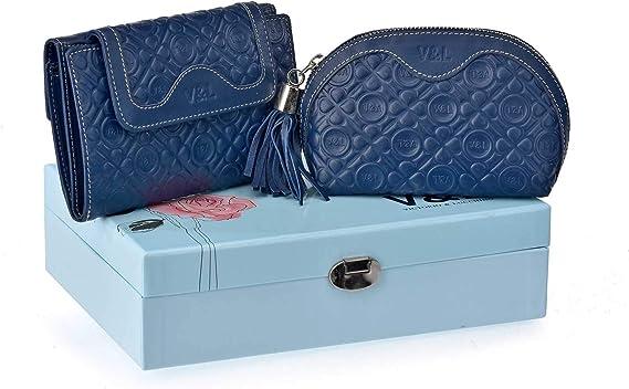 Estuche Regalo Mujer Billetero + Monedero de Mano Piel Victorio y Lucchino 1010 (Azul): Amazon.es: Equipaje