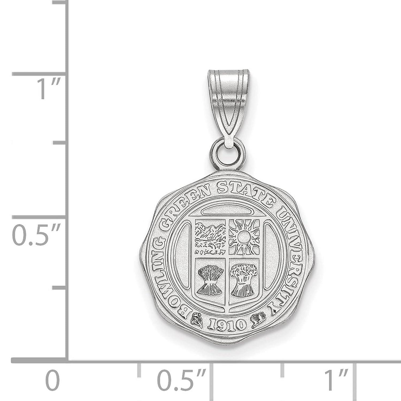 925 Sterling Silver Rhodium-plated Laser-cut Bowling Green State University Medium Crest Pendant