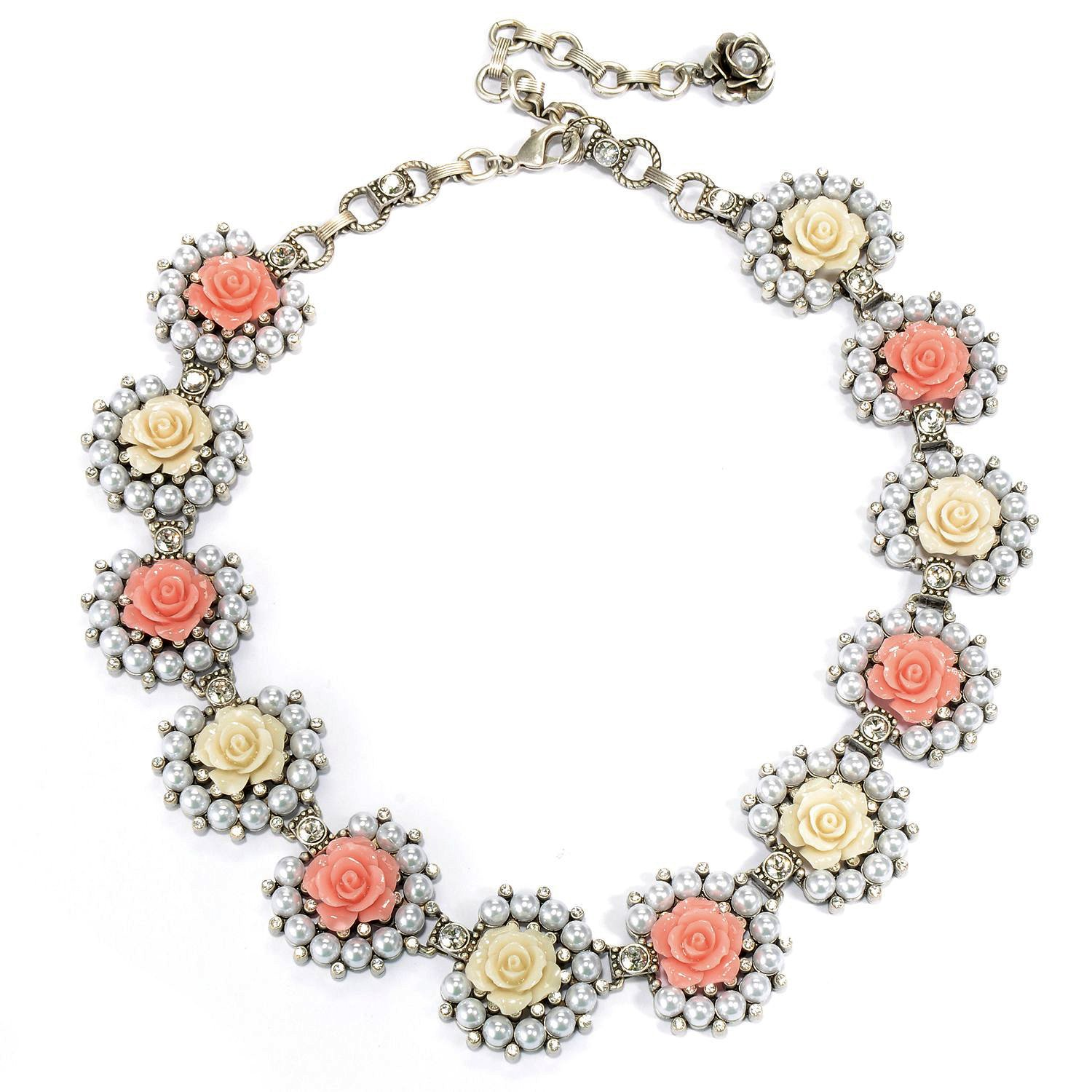 Sweet Romance Rose Collar Necklace (Silver)