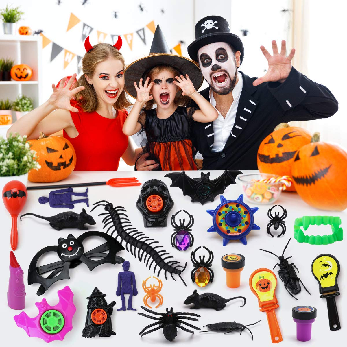 Aitbay 150PCS Halloween Party Favors Bulk for Kids Trick or Treat Favors Toy Assortment for Carnival Prizes Halloween Party and Classroom Rewards